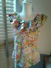 Liberty of London Target Blouse Ruffle Collar Keyhole Neck Floral Size S  P10561