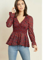 Boohoo Blouse In Leopard Print Shirred Waist Tea Top Wine Red  Size 8 EJ39 New