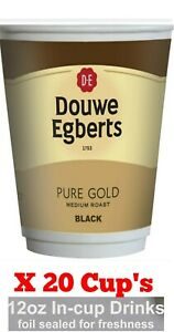 DOUWE EGBERTS BLACK COFFEE DRINK TO 2 GO 12OZ FRESH/FOILED X 20 IN CUP: Exp 2022