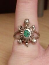 925 STERLING SILVER TURQUOISE TURTLE RING SIZE 6 1/2
