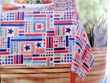 Patriotic Bars and Stars Vinyl Tablecloth 60 x 84 Rectangle Kitchen Table A