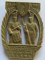 Huguenin Locale Sign Brass Madel Pin Badge infantry shooting club Old Vintage