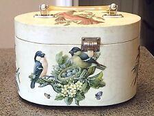 Vintage Velvet Lined Oval Lucite Handle Hardside 3-D Bird Handbag/Purse *Ec*