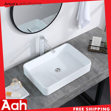 Bathroom Rectangle Ceramic Vessel Sink Vanity Pop Up Drain Modern Art Basin Us