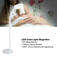 LED Cold Light Magnifier Adjustable 8X Magnifying Stand Lamp Tattoo Light Salon