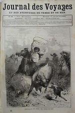 JOURNAL DES VOYAGES N° 14 de 1877 AMERIQUE DU SUD CHASSE AU LASSO / MINE DIAMANT