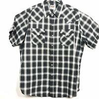 Vintage Ely Cattleman Pearl Snap XL Black Plaid Short Sleeve Shirt