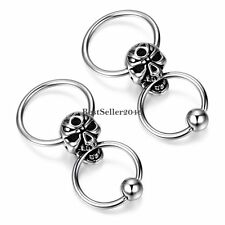 Vintage Stainless Steel Men's Huggie Hoop Gothic Skull Screw Back Earrings 2pcs