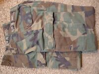 $5 LESS! BDU Camo, 2 pr. Jungle Fatigue Trousers, GI, X-Sm. Reg., VGC, + AF belt