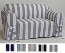 Slipcover Cotton Cabana Pattern Sofa or Loveseat or Chair or Dining Chair