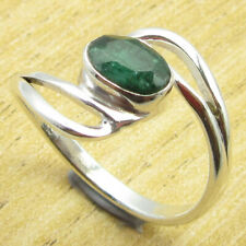 Simulated Emerald Fashionable Ring Size 7 ! 925 Silver Plated Jewellery New