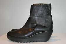 FLY LONDON Black Leather Wedge Ankle Boots, UK8/41, IMMACULATE