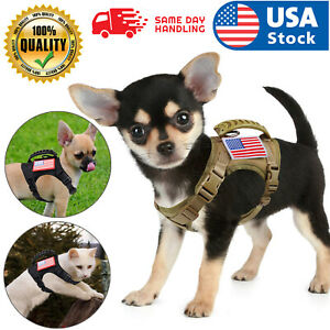 USA Tactical Adjustable Cat Puppy Small Dog Working Vest Harness Rubber Handle