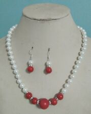 """Long 16"""" 18"""" 20""""  8-14mm White Shell Pearl /Red Coral Necklace+Earring Set"""