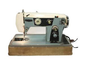 Vintage Cadillac Blue Visetti CSA 7000 Sewing Machine Portable Electric W Case
