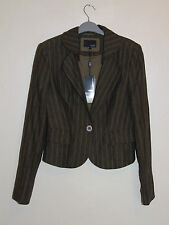 Brand New Next worth £45 Tailored Linen Cropped Jacket Size 10 Pinstripe Green