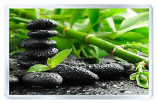 GREEN BAMBOO BLACK STONES ZEN FRIDGE MAGNET IMAN NEVERA