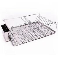 Home Basics 3-Piece Stainless Steel & Chrome Kitchen Sink Dish Drainer Set