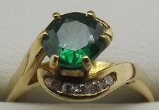 SOLID 18CT YELLOW GOLD NATURAL DIAMOND & GREEN STONE DRESS RING VALUE $1434