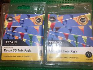 2 X Tesco Remanufactured Inkjet Cartridges For Printers Using Kodak 30 Black