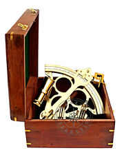"""9"""" Polished Brass Sextant Marine Nautical Collectible Ship Astrolabe With Box"""