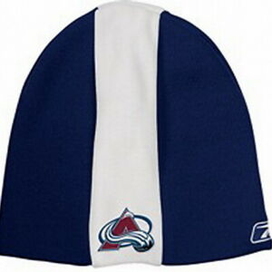 COLORADO AVALANCHE REEBOK BLUE WITH WHITE STRIPE CUFFLESS KNIT HAT BEANIE - NEW