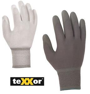Polyester-Strickhandschuh mit PU-Beschichtung von teXXor® weiß/grau Auto Montage