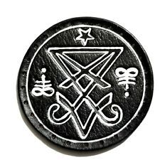 sigil of lucifer white lines circle GENUINE LEATHER  PATCH black metal