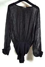 Forte Forte Womens Long Sleeved Bodysuit Linen Silk Black Size 3 NWT