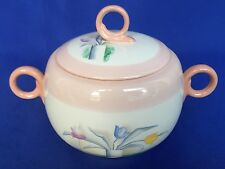 Homer Laughlin Swing Eggshell Sugar Bowl With Lid Tulips In Vase Cubist Pattern