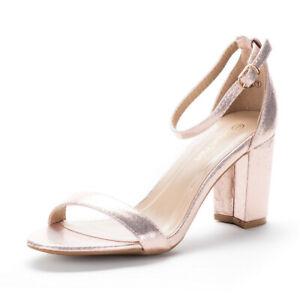 Women's Low Block Heel Ankle Strap Open Toe Party Dress Pump Sandals Shoes Size