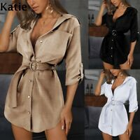 Womens Holiday Loose Tops Prom Party Baggy Slim Plus size Short UK Mini Dresses