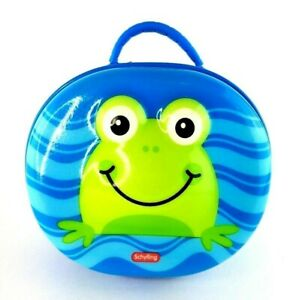 Schylling Cushie Carry-All Frog Case Lunch Box Blue with Green Frog Gently Used