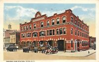 Utica New York~Central Fire Station~Firemen Trucks Outside~Buick Garage~1917 PC