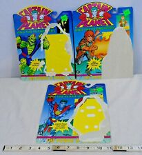 CAPTAIN PLANET LOT OF 3 LOOSE ACTION FIGURES BACKER CARDS TIGER 1987