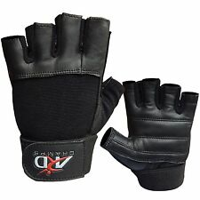 Leather Weight Lifting Gloves Long Wrist Wrap Exercise Training Gym