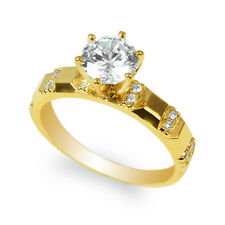 JamesJenny 10K Yellow Gold 1.0ct Round CZ Engagement Unique Ring Size 4-10