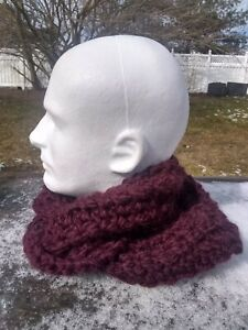 Alpaca Scarf Men Thick & Chunky Hand Knit Wool Twisted Rib Burgundy Face Mask