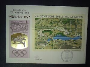 GERMANY OLYMPIC GAMES MUNICH 1972 7th ISSUE MINITURE SHEET FDC SG.MS1633