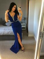 Goddiva Royal Blue Embellished Dress Ball Gown Long Maxi Evening Prom UK❤