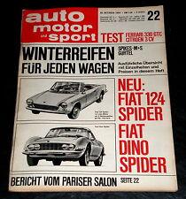 AMS 22/66 Ferrari 330 GTC, Citroen 3 CV, Fiat 124 Spider und Fiat Dino Spider