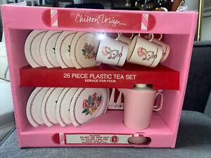 Chilton Design 26 Piece Plastic Tea Set For Four Kitchenware Toys Playset Pink