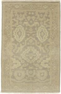 Hand Knotted Muted Brown 2X3 Oushak Chobi Oriental Area Rug New Small Carpet