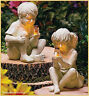 Kids Boy or Girl Solar Lighted Fireflies in Jar Statue Lawn Yard Garden Decor