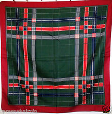 VINTAGE MEUNIER GREEN & RED STRIPE PLAID HEAD ~ SQUARE ~ SCARF  #  122