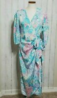 Vintage Floral Robe House Dress Wrap Silky Pastel Colors by Aphrodite 3/4 Sleeve