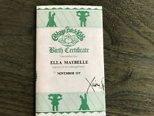 "Cabbage Patch Doll Birth Certificate ""Ella Maybelle"""