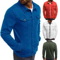 Classic Retro Men's Slim Fit Denim Jean Coat Jacket Casual Outwear Tops New