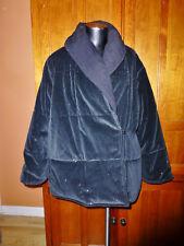 ST. JOHN sport Black REVERSIBLE Shimmery Velvet Shawl Collar Puffer COAT JACKET