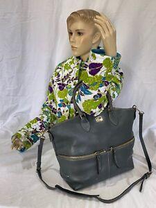 DOONEY and BOURKE Large Authentic Vintage Gray Leather Tote Satchel Shoulder Bag